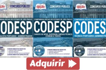 Apostilas de Estudo Concurso Companhia Docas do Estado de São Paulo – CODESP – 2017, cargos: Diversos Empregos