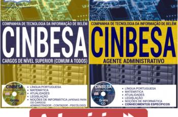 Apostilas de Estudo Concurso CINBESA – 2017, cargos: Agente Administrativo e Comum Empregos de Nível Superior