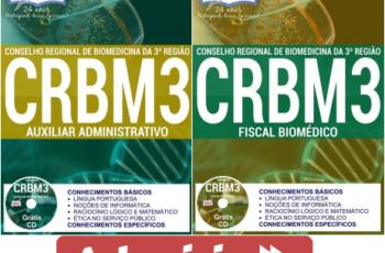 Apostilas Concurso CRBM 3ª Região – 2017, Auxiliar Administrativo e Fiscal Biomédico