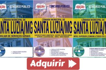 Apostilas de Estudo Concurso Câmara de Santa Luzia / MG – 2017, cargos: Diversos Empregos