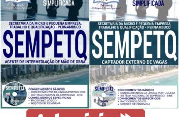 Apostilas Seleção Pública SEMPETQ / PE – 2017, Captador Externo de Vagas e Agente de Intermediação de Mão e Obra