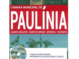 Apostila Concurso Câmara de Paulínia / SP – 2017, cargos: Adjunto Legislativo, Agente de Serviços, Motorista e Telefonista