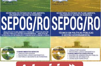 Apostilas Especialista, Técnicos e Analistas do Concurso da SEPOG / RO – 2017