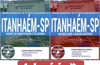 Apostilas Concurso Câmara de Itanhaém / SP – 2017, cargos: Auxiliar Legislativo e Agente de Manutenção e Zeladoria