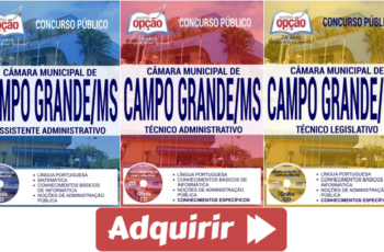 Apostilas Concurso Câmara de Campo Grande / MS – 2017, cargos: Assistente Administrativo, Técnico Administrativo e Técnico Legislativo