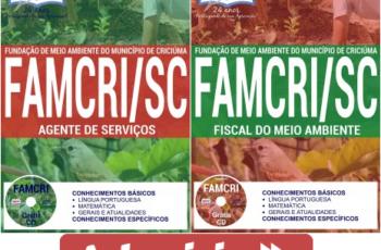 Apostilas Concurso FAMCRI / SC – 2017, Fiscal do Meio Ambiente e Agente de Serviços