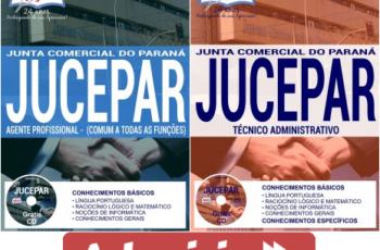 Apostilas Agente de Execução e Agente Profissional do Concurso Público da JUCEPAR – 2017