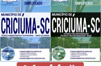 Apostilas Opção Processo Seletivo Município de Criciúma / SC – 2017, Técnico Administrativo e Ocupacional e Técnico em Enfermagem
