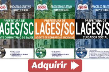 Apostilas Processo Seletivo Prefeitura de Lages / SC – 2017, empregos: Agentes e Cuidador