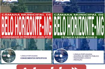 Apostilas Opção Concurso Câmara de Belo Horizonte/MG – 2017/2018, Coordenador do Processo Legislativo e Técnico Legislativo II