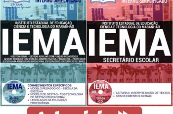 Apostilas Gestor, Secretário Escolar e Professor do Processo Seletivo do IEMA – 2017