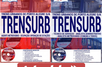 Apostilas Opção Concurso Público TRENSURB de Porto Alegre / RS – 2017, Todos os Cargos
