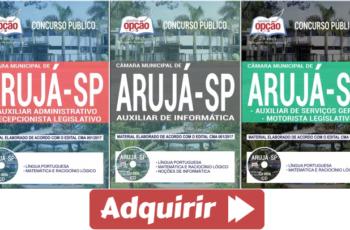 Apostilas Vários Empregos do Concurso Público da Câmara de Arujá / SP – 2017