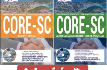 Apostilas Concurso Público CORE / SC – 2017, empregos: Agente Fiscal e Auxiliar Administrativo de Pessoal