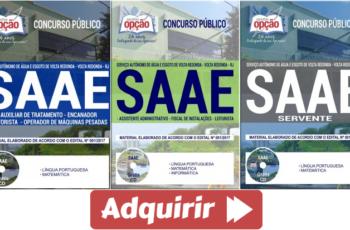 Apostilas Opção Concurso Público SAAE de Volta Redonda / RJ – 2017, Comum Vários Empregos