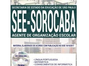 Apostila Processo Seletivo SEE Regional Sorocaba / SP – 2017, função: Agente de Organização Escolar