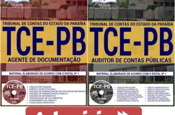 Apostilas Opção Concurso Público TCE / PB – 2017/2018, Auditor de Contas Públicas e Agente de Documentação