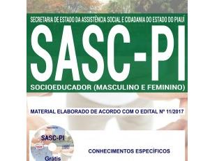 Apostila Processo Seletivo SASC / PI – 2017/2018, Socioeducador Masculino e Feminino