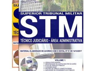 Material de Estudo Concurso Público STM – 2017/2018, função: Técnico Judiciário – Área: Administrativa