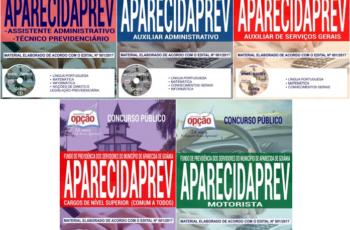 Apostilas Concurso APARECIDAPREV / GO – 2017/2018, Comum Vários Empregos