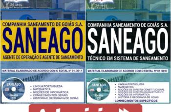 Apostilas de Estudo Concurso SANEAGO – 2018, cargos: Agente de Operação, Agente de Saneamento e Técnico em Sistema de Saneamento