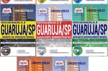 Apostilas Opção Concurso Público Prefeitura Municipal de Guarujá / SP – 2018, Vários Empregos