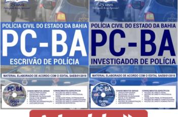 Apostilas Concurso Público PC / BA – 2018, Escrivão de Polícia e Investigador de Polícia