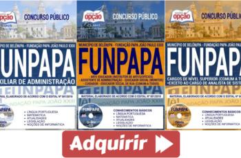 Apostilas Concurso Público FUNPAPA Belém / PA – 2018, empregos: Comum Diversas Funções
