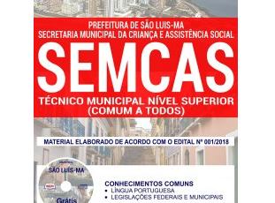 Apostila Concurso Público SEMCAS / MA – 2018, Técnico de Nível Superior (Serviço Social, Direito e Psicologia)