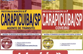 Apostilas Coveiro e Agente de Trânsito do Concurso Público da Prefeitura de Carapicuíba / SP – 2018