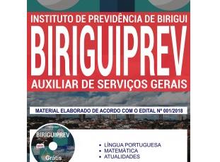 Apostila Auxiliar de Serviços Gerais do Concurso Público do BIRGUIPREV / SP – 2018